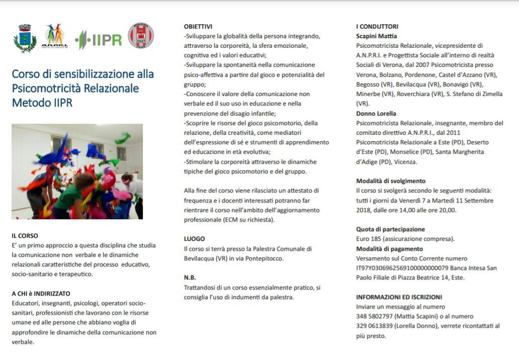 Psicomotricità Verona Corso di sensiblizzazione alla PsicomotricitÖ Relazionale